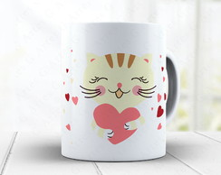 Caneca Love Cats - gato cute cód: 1379g2
