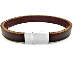 a43c9697fdb ... Bracelete De Couro Masculino Marrom