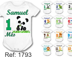 Body Mesversario Safari Animais kit c/12 bodys bodies bori
