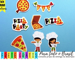 100 apliques 3cm pizza party