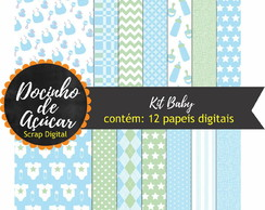 Kit Scrap Digital - baby azul e verde