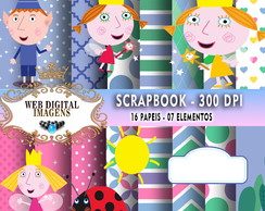SCRAPBOOK Ben & Holly- 16 Papeis 12 Elementos - CD09
