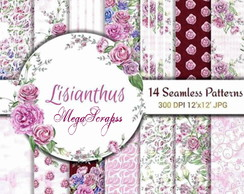 Kit scrapbook digital papeis florais lisianthus
