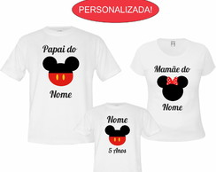 Kit 3 Camisetas Brancas Aniversário Do Mickey E Da Minnie