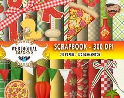 SCRAPBOOK Lliella Pizza- 20 Papeis 170 Elementos - CD15