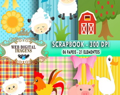 SCRAPBOOK Animais- 06 Papeis - 21 Elementos - CD17