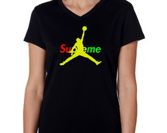 Camiseta Baby Look Preta Supreme Jordan Air Anti-trincagem 1