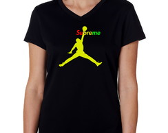 Camiseta Baby Look Preta Supreme Jordan Air Anti-trincagem 2