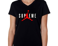 Camiseta Baby Look Preta Supreme Jordan Air Anti-trincagem 3