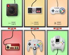 Poster de Controles Retro Games Antigos
