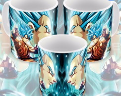 Caneca Goku E Vedita Sayajin 5 Azul Anime Dragon Ball Super