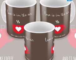 Caneca Café Romântica Presente Love Is In The Air Amor No Ar
