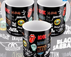 Caneca Bandas De Rock In Roll Famosas Logotipos