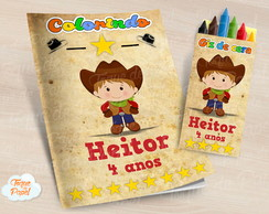 Kit colorir com giz de cera Cowboy Cute
