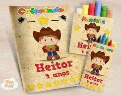 Kit colorir giz massinha Cowboy Cute