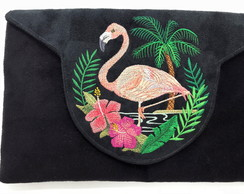 Clutch com Bordado Flamingo LJ16