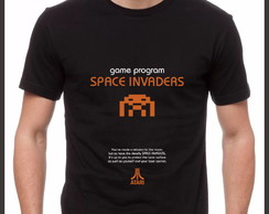 Camiseta Camisa Geek Game Jogo Space Invaders Atari 2600