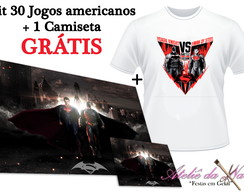 KIT 30 Jogos Americanos + Camiseta - Batman vs Superman
