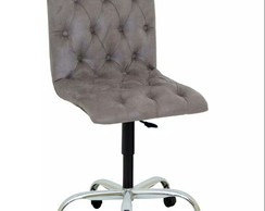 ... Cadeira Decorativa Lia Cinza Capitonê Rodinhas Dopolo Decor 4035227288