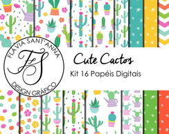 KIT PAPEL DIGITAL - CUTE CACTUS