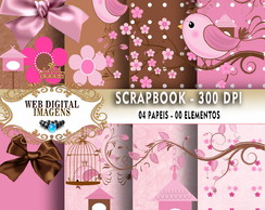 SCRAPBOOK Cute Bird - 08 Papeis 18 Elementos - CD45