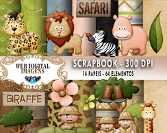 SCRAPBOOK Lliella - Safari- 13 Papeis 64 Elementos - CD51