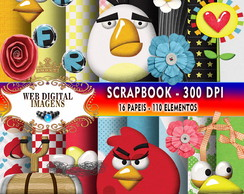 SCRAPBOOK Mad Birds - 16 Papeis 110 Elementos - CD52