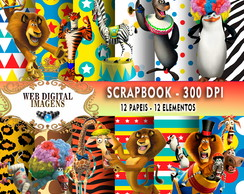 SCRAPBOOK Madagascar- 12 Papeis 12 Elementos - CD53