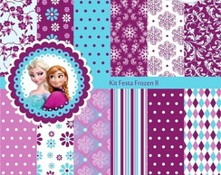 Papel Kit Festa Frozen Lilas E Azul Digital Scrapbook+brinde
