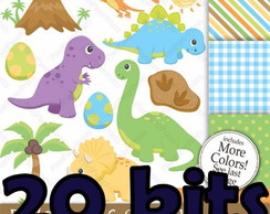 20 Kits Digital Dinossauros Scrapbook Papel Digital+ Brinde