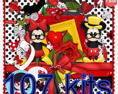 107 Kits Scrapbook Minnie Mickey Digital Papel, 2009 Imagem