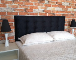 CABECEIRA PAINEL BOTONÊ DURASI 15 SUEDE PRETO KING
