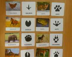 Kit 24 flashcards pegadas de Animais pareamento montessori