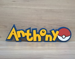Nome de Mesa Tema POKEMON - Anthony - 13 cm