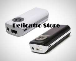 Power Bank com Lanterna e Led Preto/Branco - DS12792