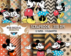 SCRAPBOOK Mickey Mouse Vint- 12 Papeis - 10 Elementos - CD62