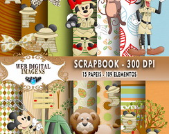 SCRAPBOOK Mickey Safari- 15 Papeis - 109 Elementos - CD63