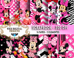 SCRAPBOOK Minnie Mouse- 16 Papeis - 15 Elementos - CD65
