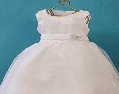 c067d177be ... Vestido branco batizado cetim organza e perola 9 a 18 meses