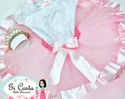 Kit collant de renda e saia tutu rosa