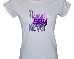 Camiseta Baby Look, Never Say Never, Justin Bieber