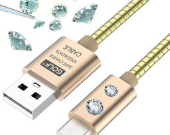 Cabo MicroUSB Android GOLF Universal c/ Cristal SWAROVSKI