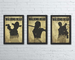 Poster The Walking Dead Conjunto 3 quadros com moldura