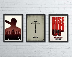 Poster The Walking Dead Kit com 3 quadros com moldura
