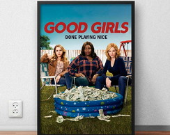 "Quadro Decorativo ""Good Girls"" com moldura e vidro"