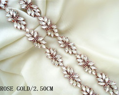 Bordado Aplique Cristais Strass Gold Rose 90cm