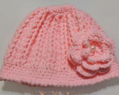 Touca de Croche La Rosa Flor Branca  a6e083da644