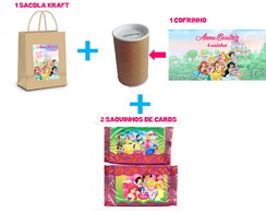 Kit Sacola, Cofrinho e Cards Princesas Disney