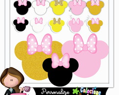 Kit Scrapbook Digital minnie rosa e dourado