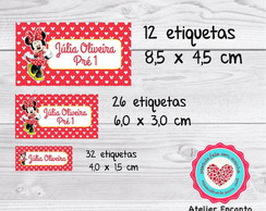 Etiqueta escolar minnie vermelha kit